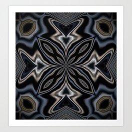 Deep Navy Blue Mandala Art Print
