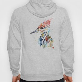 Woodpecker Colorful Watercolor Bird Painting Hoody