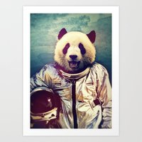 panda Art Prints featuring The Greatest Adventure by rubbishmonkey