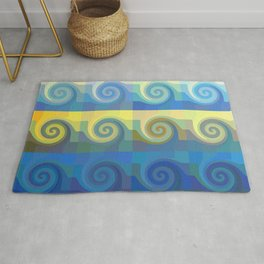 Abstract tiles and waves pattern Rug