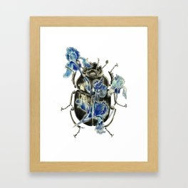 Beetle in blue irises Framed Art Print