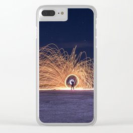 Steel sparkle ring made at night in a saline Clear iPhone Case