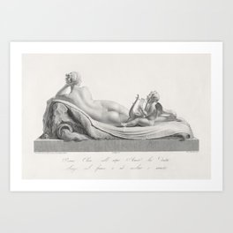 Back view of Venus reclining accompanied by Cupid with a harp from Oeuvre de Canova Recueil de Statu Art Print