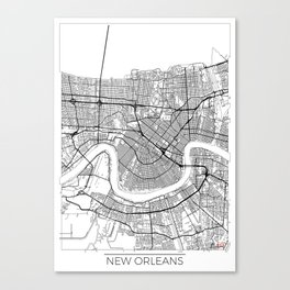 New Orleans Map White Canvas Print
