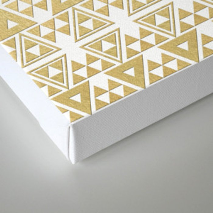 White and Gold Geometric Pattern 2 Canvas Print