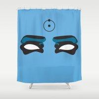 watchmen Shower Curtains featuring Watch this Doctor Manhattan by Christina G. Smith