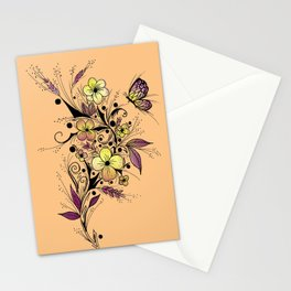 Flower Tattoo in Yellow and Purple Stationery Cards