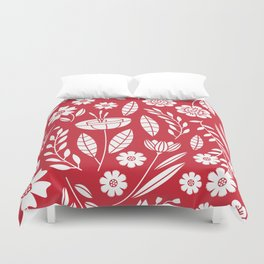 Blooming field - red Duvet Cover