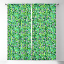 Pink Clover Flowers on Green Field, Floral Pattern Blackout Curtain