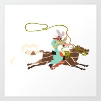 cowboy Art Prints featuring Cowboy by Design4u Studio