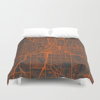 atlanta Duvet Covers featuring Atlanta map by Map Map Maps