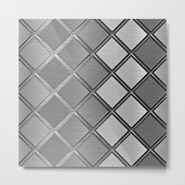 Silver Metallic Geometric Squares Pattern Metal Print