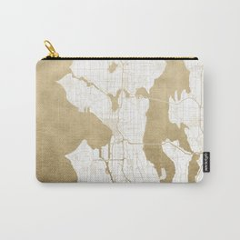 Seattle White and Gold Map Carry-All Pouch
