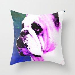 Pink Bulldog Dog Pet Pop Art by Sharon Cummings Throw Pillow