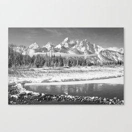 GRAND TETON WINTER BLACK & WHITE WYOMING NATIONAL PARK Canvas Print