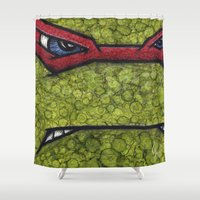 teenage mutant ninja turtles Shower Curtains featuring Raphael (Teenage Mutant Ninja Turtles) by chris panila
