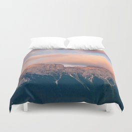 Pink Sunset over Mount Amazing Duvet Cover