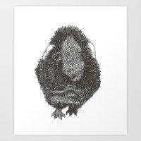 guinea pig Art Prints featuring Guinea Pig. by Elena O'Neill
