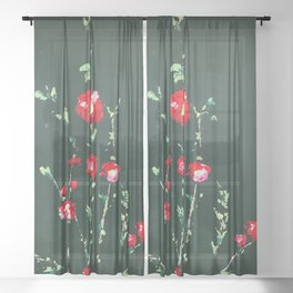 Flowers on Green ll Sheer Curtain