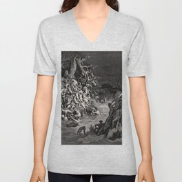 World Destroyed by Water Gustave Dore, 1866 Unisex V-Neck