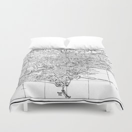 Vintage Map of Naples Italy (1901) BW Duvet Cover