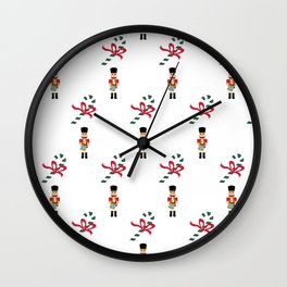 Nutcrackers and candy canes Wall Clock