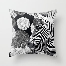 ZEBRA AND CABBAGE ROSES BLACK AND WHITE Throw Pillow