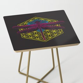 Dragonfly Flower of Life Side Table