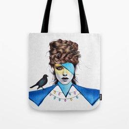 Blue Girl & Black Bird Tote Bag