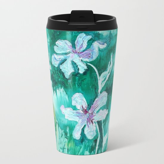 Green encaustic flowers Metal Travel Mug