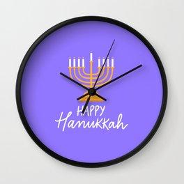 Hanukkah candles purple Wall Clock