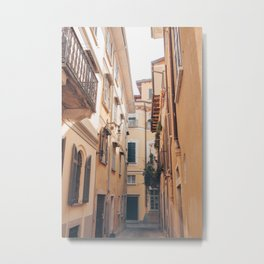 Travel Italy / yellow houses / street in Toscane Metal Print