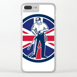 British Pressure Washing Union Jack Flag Circle Retro Clear iPhone Case