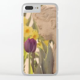 Girl Smells Tulip Clear iPhone Case