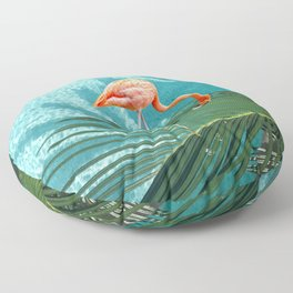 Abstract Flamingo and Palm leaf Floor Pillow