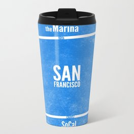 This is SF (Blue) Metal Travel Mug