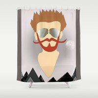 the dude Shower Curtains featuring Dude by DM Davis