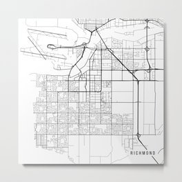 Richmond Map, Canada - Black and White Metal Print