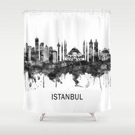 Istanbul Turkey Skyline BW Shower Curtain