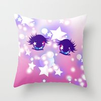 pastel goth Throw Pillows featuring Fairy Kei Pastel Goth Dreamy Shoujo Manga Eyes by KawaiiMachine