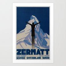 Vintage Zermatt Switzerland Travel Art Print