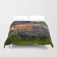 truck Duvet Covers featuring Old Truck by P.C.M. ART PHOTOGRAPHY