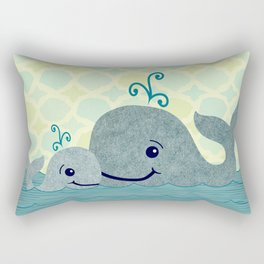 Whale Mom and Baby Rectangular Pillow