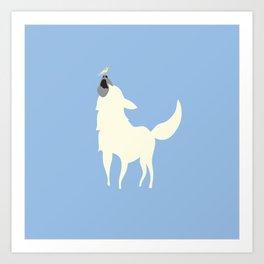 Little White Dog with Bird, Blue Art Print