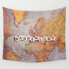 wanderlust map Wall Tapestry