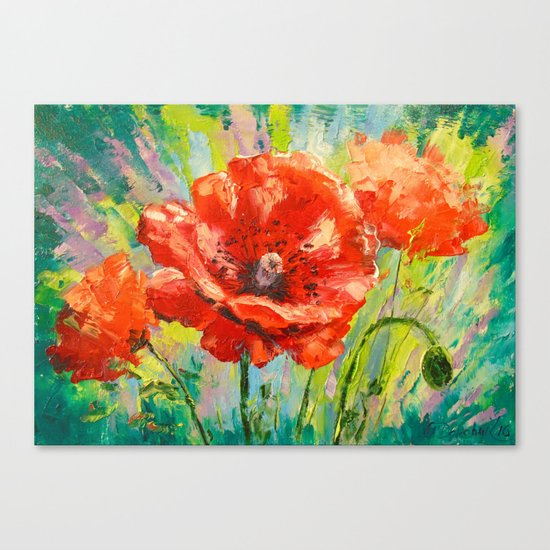 Blooming poppy Canvas Print