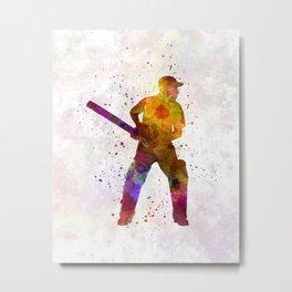 Cricket player batsman silhouette 07 Metal Print