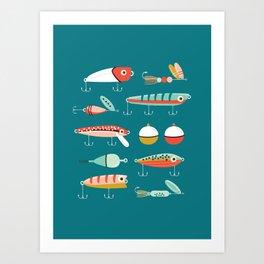 Fishing Lures Blue Kunstdrucke