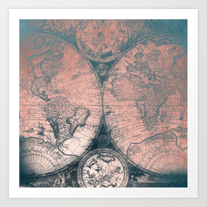 Vintage World Map Rose Gold and Storm Gray Navy Art Print by