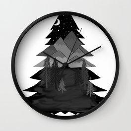 mountainous tree Wall Clock